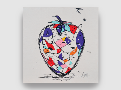 Magnifique peinture de l'artiste française Armelle GH Technique mixte sur toile Relax 80*120 cm Nature morte banane colorée dripping pouring à découvrir à la galerie Maner de Pont-Aven en Bretagne