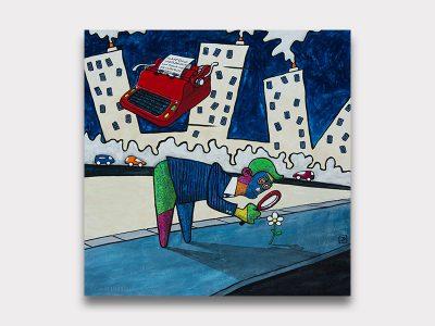 Magnifique peinture d'un personnage scruttant une fleur à la loupe. Galerie Maner pont-aven