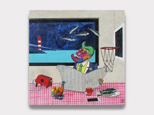 Magnifique peinture de David Jambon représentant un personnage décalé qui lit son journal en mangeant du poisson. Galerie Maner à Pont-Aven