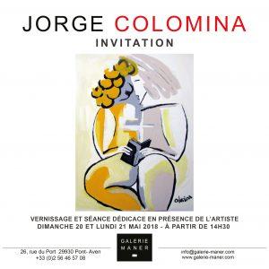 Invitation Exposition Jorge COLOMINA mai 2018 Galerie Maner Pont-Aven vernissage figuratif abstrait