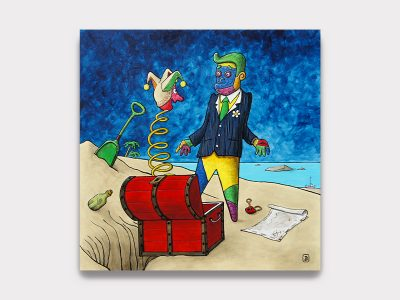 Mister Ham L'ile au trésor Technique mixte sur toile 100x100 cm Magnifique peinture de l'artiste Mister Ham un personnage décalé Monsieur B qui vient de trouver un trésor. Galerie Maner à Pont-Aven. Illustration bande dessinée