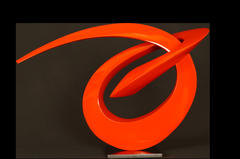 Très belle sculpture s'Edouard HERVE sculpteur bronze original visible à la galerie Maner de Pont Aven rouge contemporain