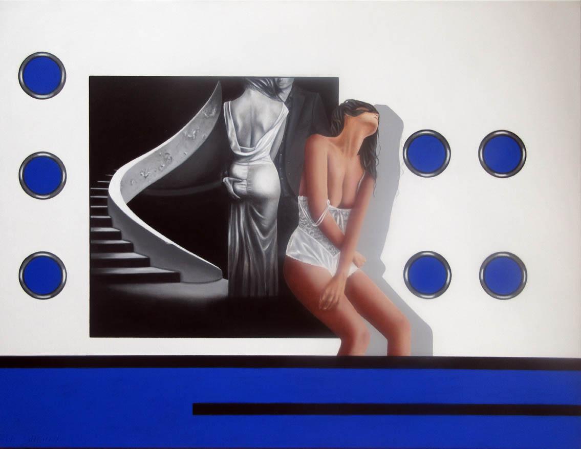 Magnifique peinture d'une femme nu au avec une femme en arrière plan en noir et blanc.