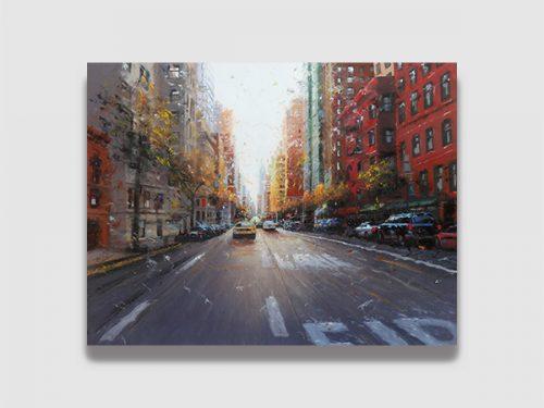 """Magnifique Peinture de l'artiste Français Patrice LARUE Huile sur toile """"Fire Lane"""" 92*73 cm Ville de New-York Etats-Unis à découvrir à la Galerie Maner de Pont-Aven en Bretagne"""