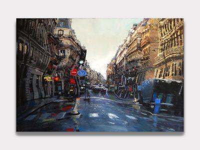 Rue de Paris sous la pluie avec des perspectives déformés.