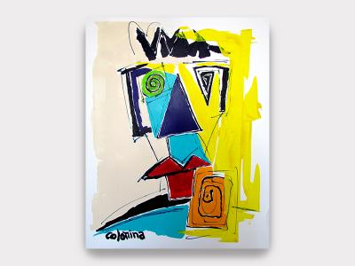 Colomina Technique mixte Magnifique peinture sur velin de colomina représentant un ou des visages selon l'angle. Exposition permanente à la Galerie Maner en Bretagne