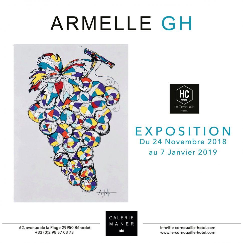 superbe exposition Armelle GH peinture fruits raisin cerise Hotel le Cornouaille hotel bénodet art contemporain Galerie Maner pont aven