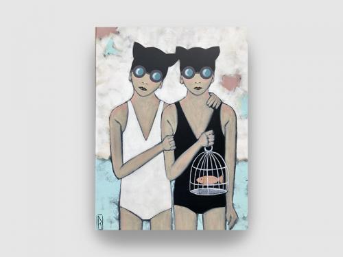 RAOUL P. BROSSEAU La cage 60x81 cm Univers naif et décalé Nageurs en bonnet de bain avec des magnifiques couleurs douces Artiste Nantaise Univers b-naif et décalé, à découvrir à la Galerie Maner de Pont-Aven en Bretagne